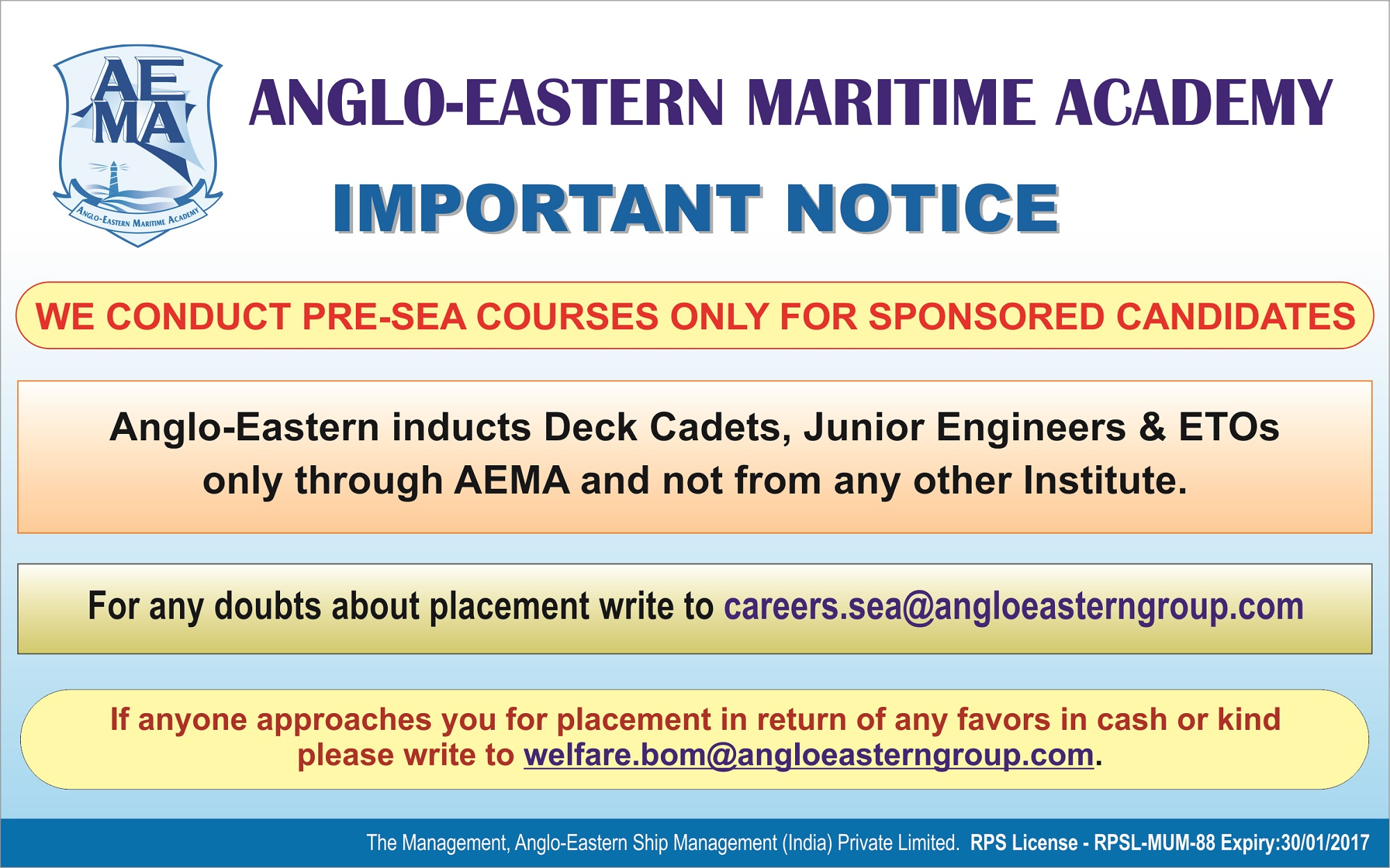 Anglo Eastern Maritime Academy Admission Notification for 2019 Batches